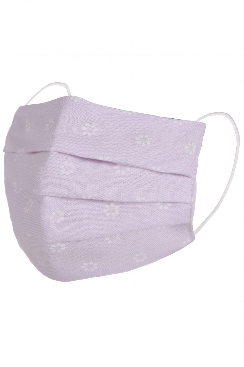 Children's Face Mask - Lilac with White Flowers