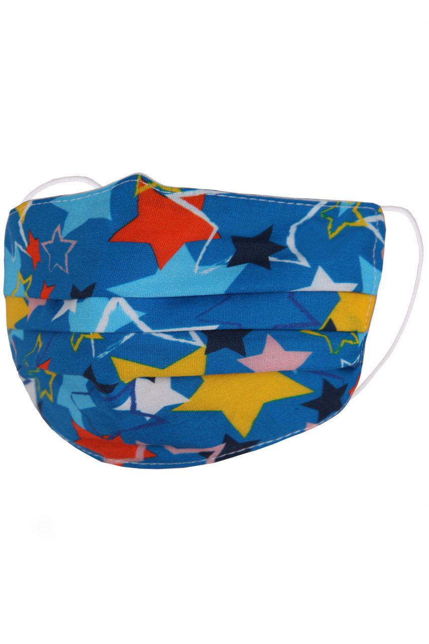 Children's Face Mask - Blue with Multi-Coloured Stars