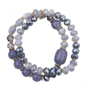 Double Strand Stretch Bracelet with Semi-Precious Stones