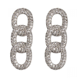 Triple Eternal Loop Cubic Zirconia Earrings in White Gold Plating