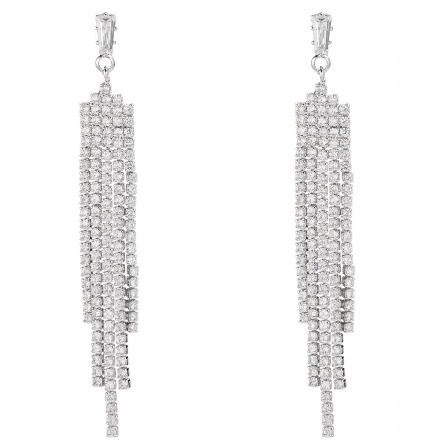 Art Deco Style Cubic Zirconia Earrings with White Gold Plating