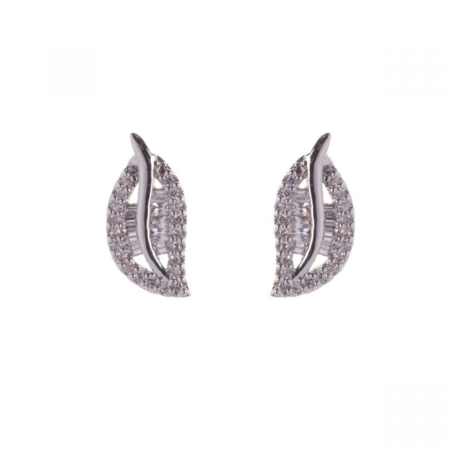 White Gold Plated Small Leaf Shaped Crystal Earrings