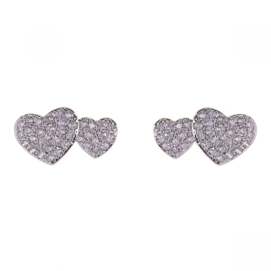 Double Heart White Gold Plated Earrings with Clear Crystals