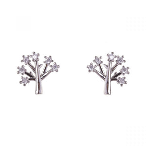 White Gold Plated Small Tree of Life Crystal Earrings