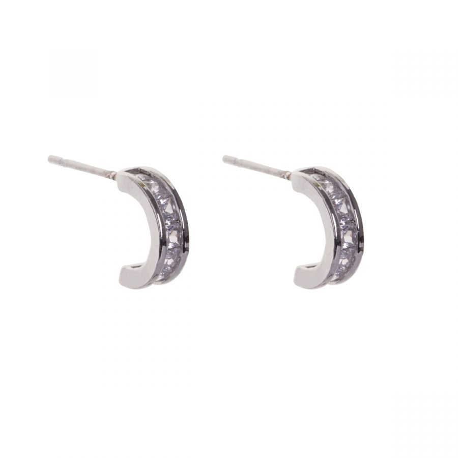 Keira White Gold Plated Half Moon Shaped Earrings with Clear Crystals