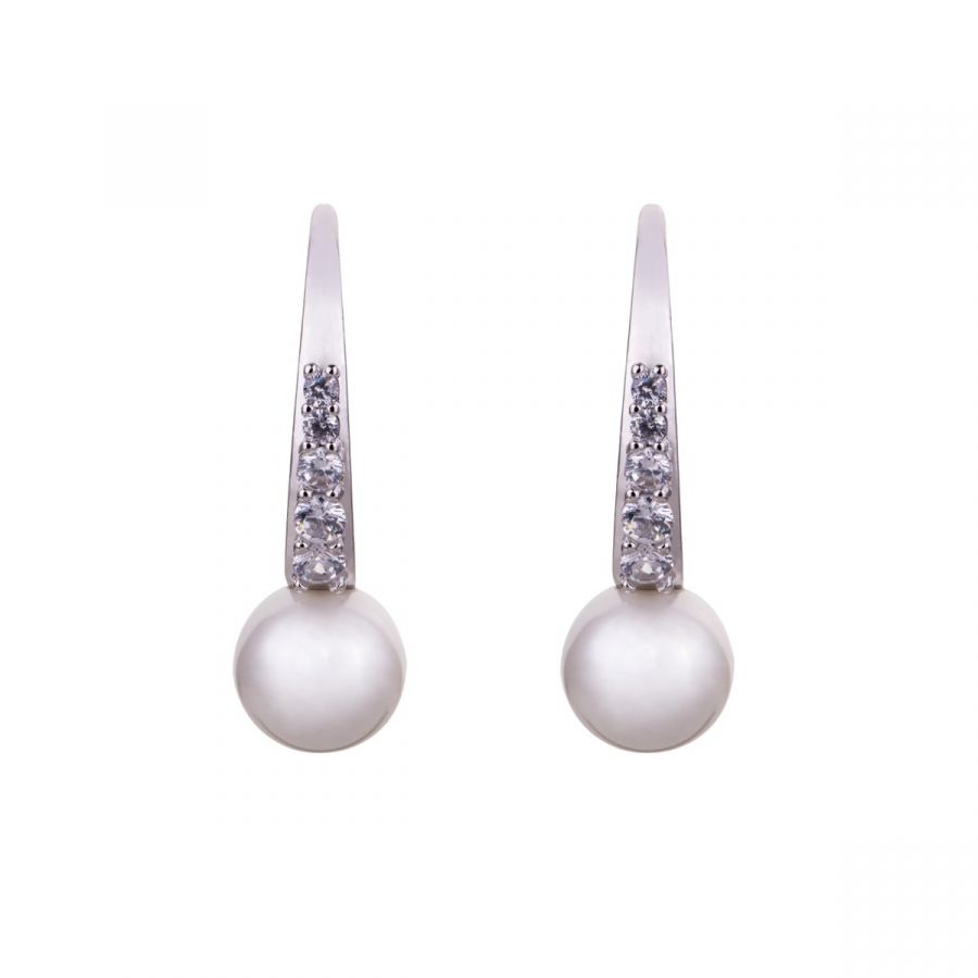 Modern Crystal & Faux Pearl Earrings