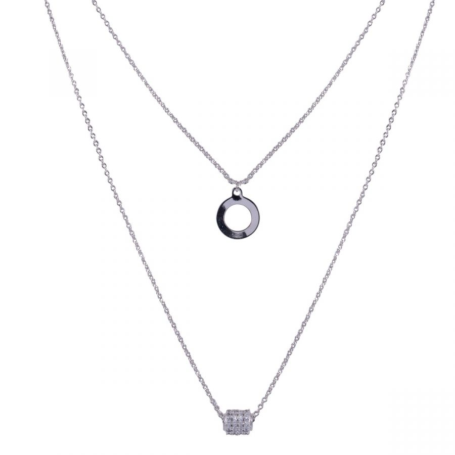 White Gold Plated Cubic Zirconia Double Length Necklace