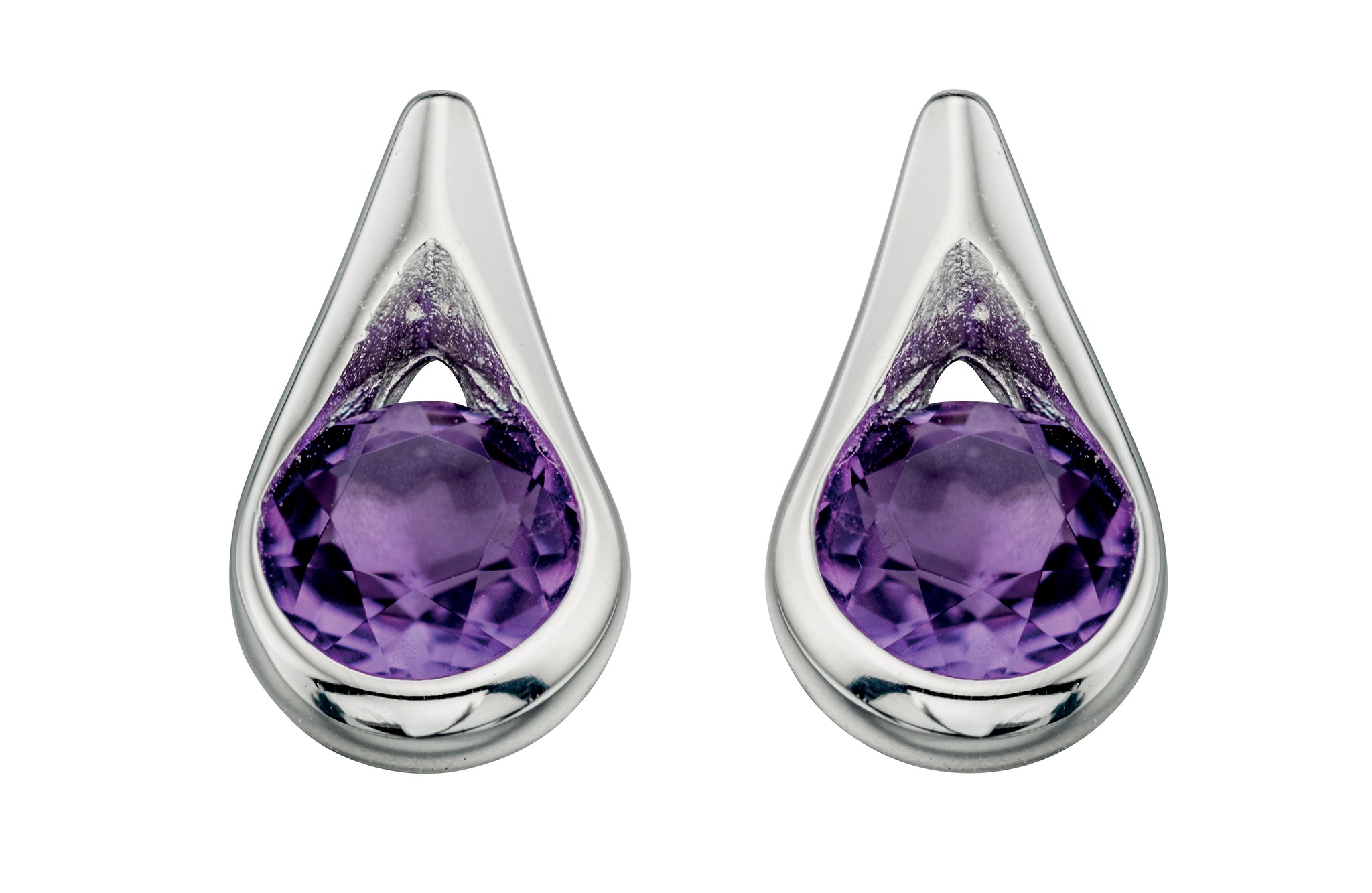 Amethyst Teardrop Stud Earrings