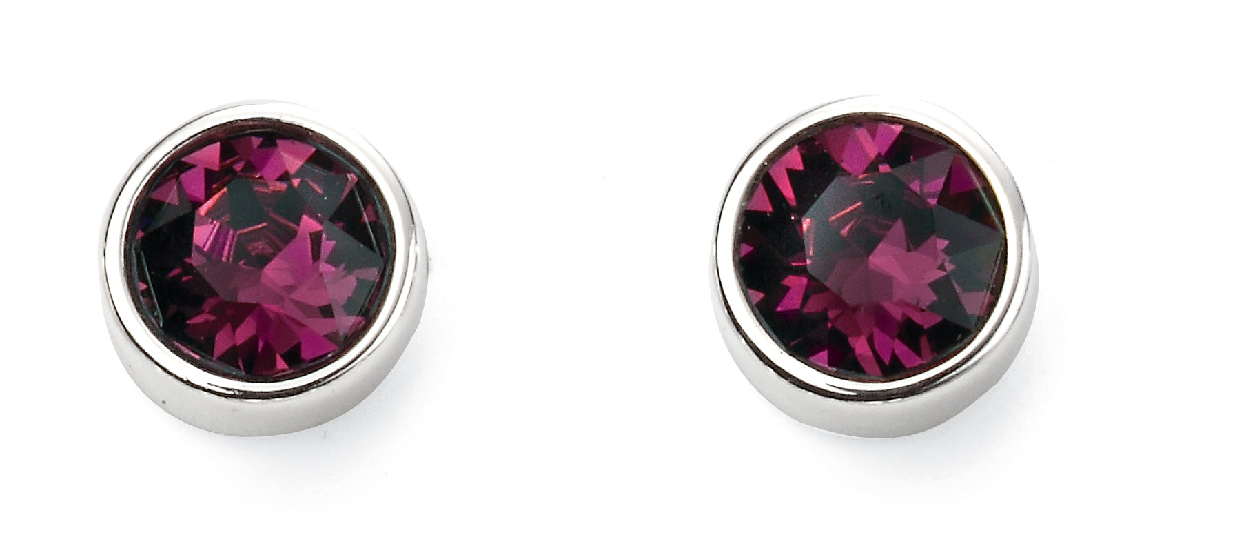 Sterling Silver Swarovski® Crystal February Birthstone Earrings