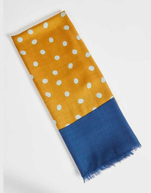Mustard and Navy with Grey Polka Dot Scarf