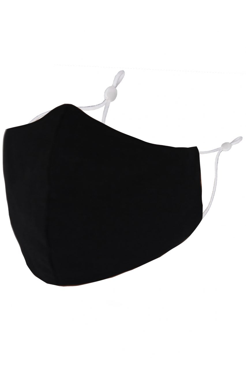 Solid Black Adult Face Mask w/ Filter Pocket