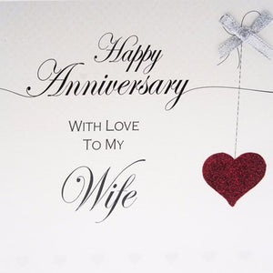 White Cotton Cards - Happy Anniversary to my Wife