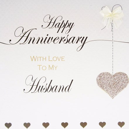 White Cotton Cards - Happy Anniversary Husband