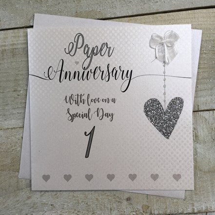 White Cotton Cards - 1st (Paper) Anniversary