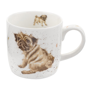 Wrendale Designs Bone Fine China Mug - 'Pug Love'