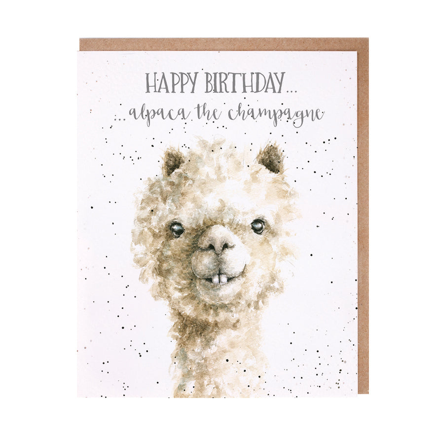 "Wrendale Designs - ""Alpaca the Champagne"" Birthday Greeting Card"
