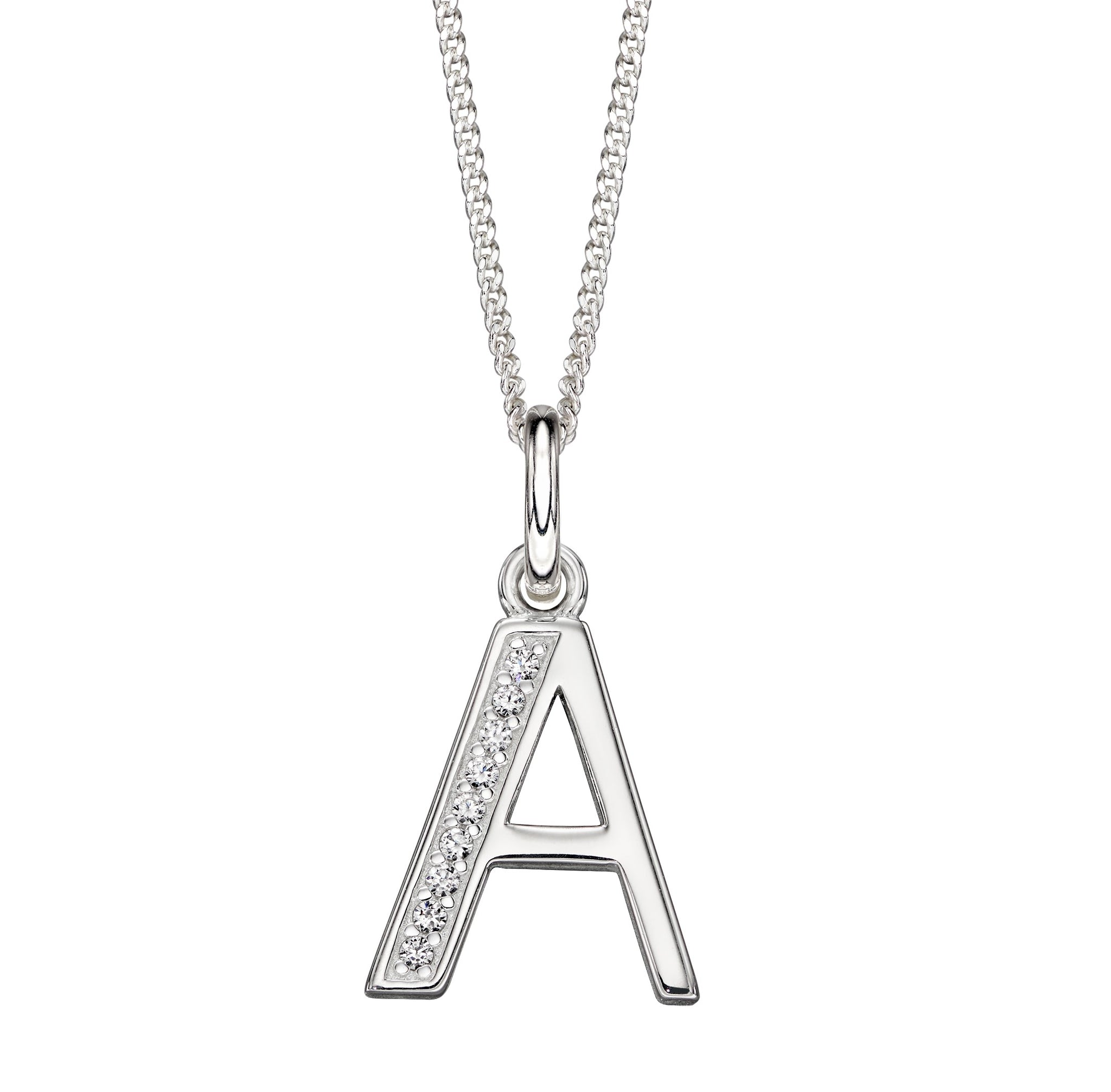 Sterling Silver Art Deco Initial 'A' Necklace