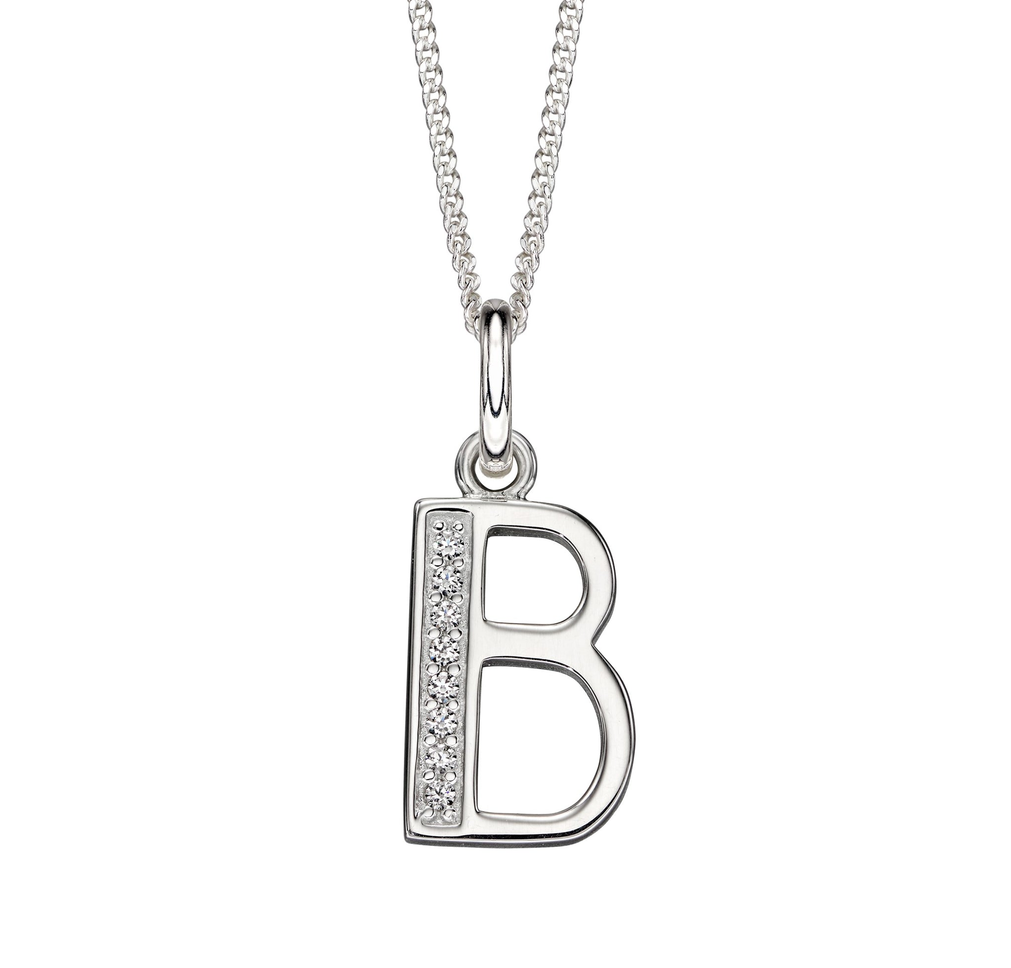 Sterling Silver Art Deco Initial 'B' Necklace