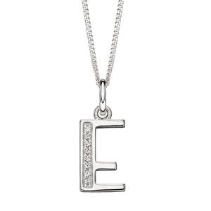 Sterling Silver Art Deco Initial 'E' Necklace