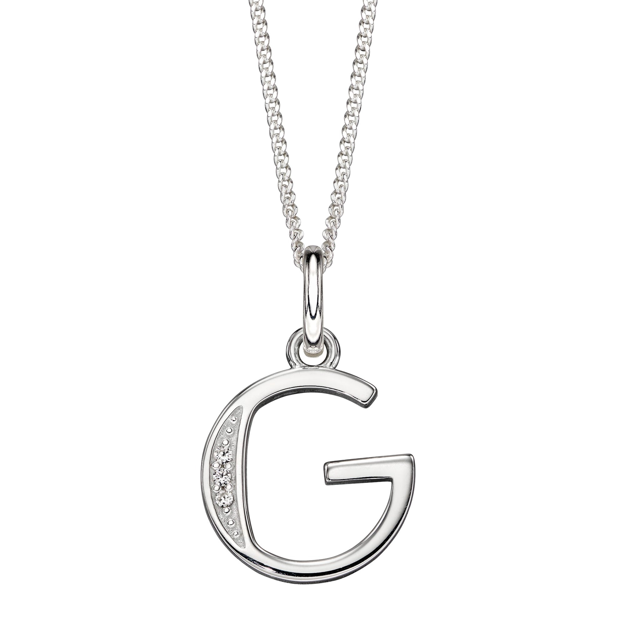 Sterling Silver Art Deco Initial 'G' Necklace