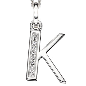Sterling Silver Art Deco Initial 'K' Pendant
