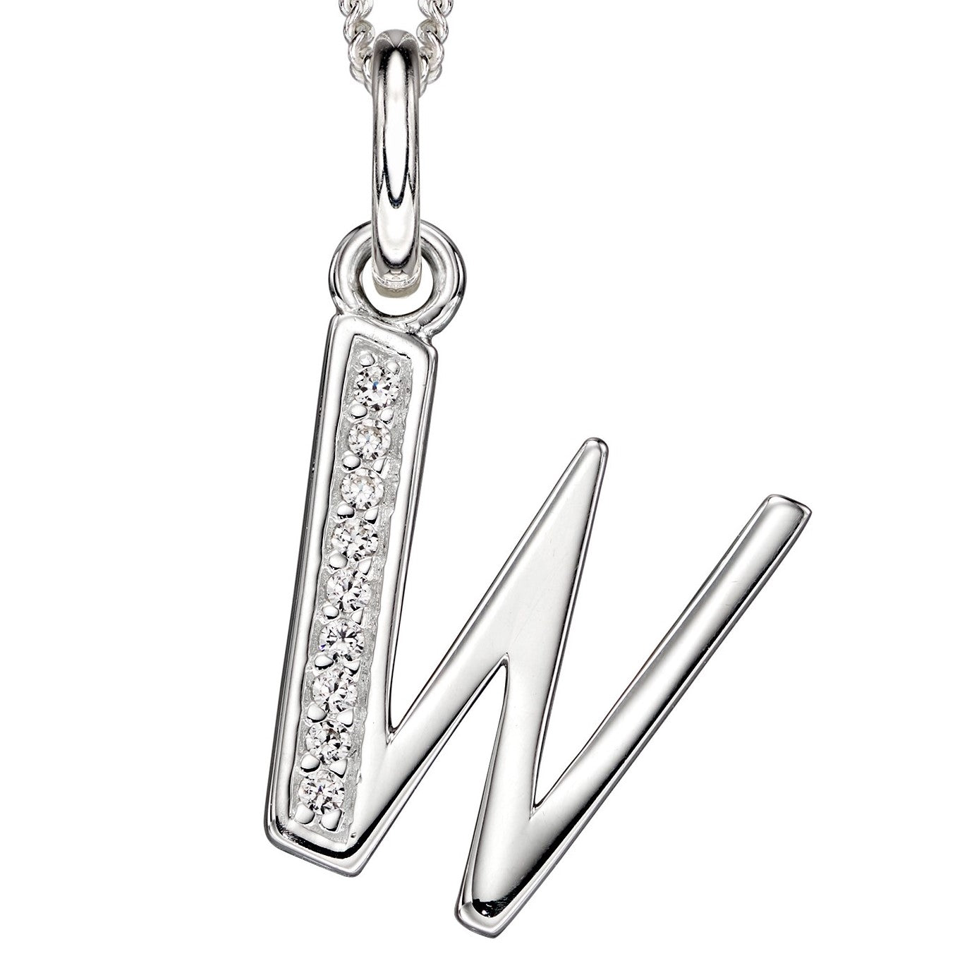 Sterling Silver Art Deco Initial 'W' Pendant