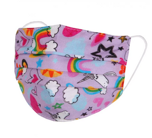 Children's Face Mask - Lilac with Rainbows, Unicorns, Hearts & Stars