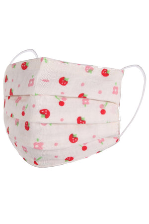Children's Face Mask - Strawberry and Pink Flower Print