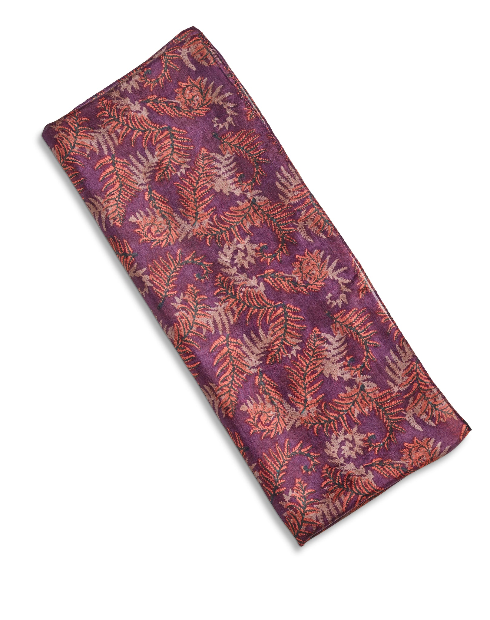 Plum with Autumnal Leaf Patterned Silk Scarf