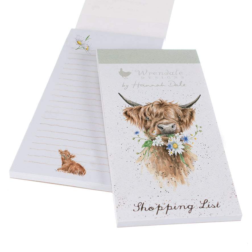 *NEW* Wrendale Designs - Magnetic Shopping Pad - 'Dasiy Coo' Highland Cow