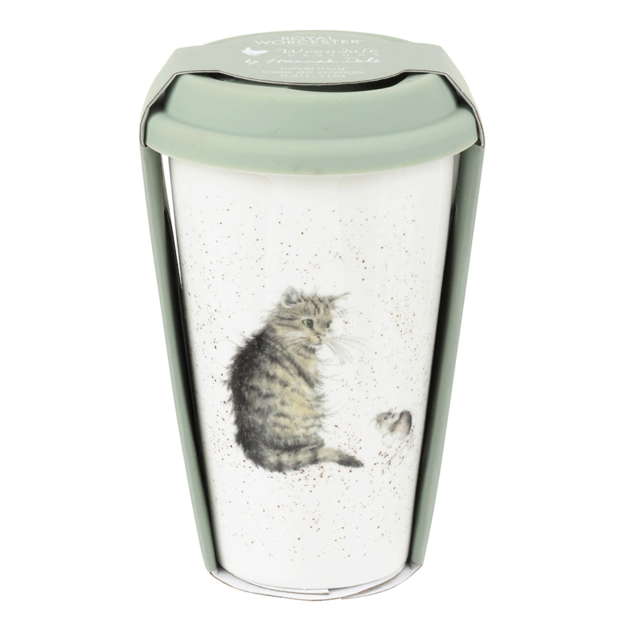 Wrendale Designs Porcelain Travel Mug - 'Cat and Mouse'