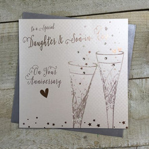 White Cotton Cards - Daughter & Son-in-law Anniversary