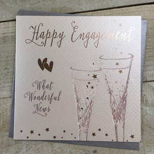 White Cotton Cards - Happy Engagement