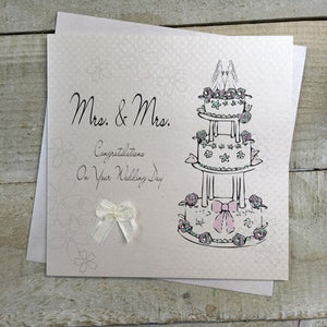 White Cotton Cards - Mrs. and Mrs,