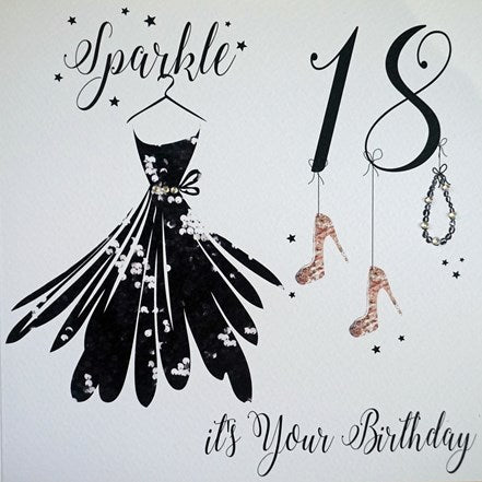 "White Cotton Cards - ""Sparkle...it's Your Birthday"" 18th Birthday Greeting Card"
