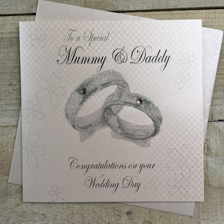 White Cotton Cards - Mummy & Daddy Wedding Day