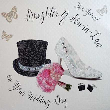 White Cotton Cards - Daughter & Son-in-Law - Wedding