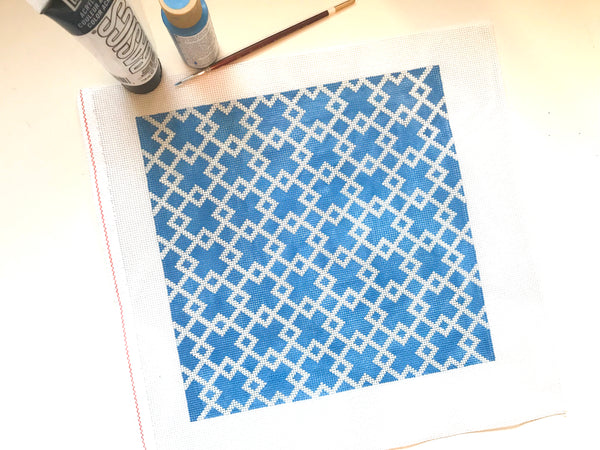 Blue & White Geometric Pillow