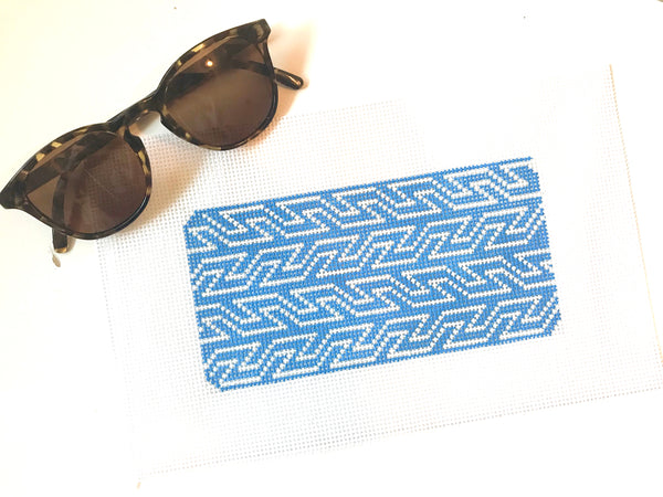 Blue & White Geometric Sunglass Case