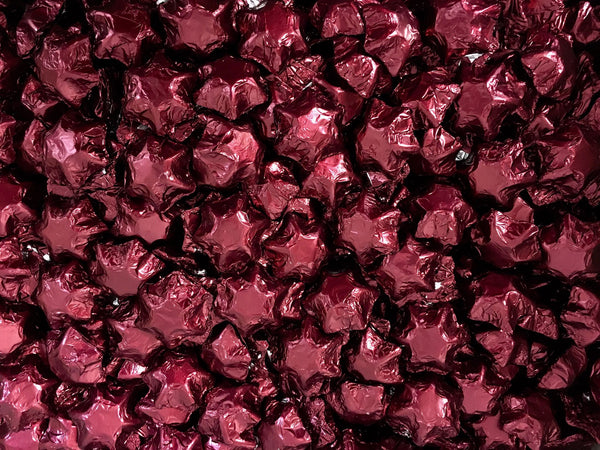 Pauls Chocolates Burgundy Milk Chocolate Stars