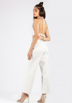 Halt Your Way White Crop Top