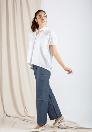 Cocoon Pleated Cotton White Top