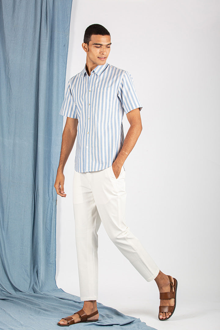 Ocean Stripe Short-Sleeve Shirt