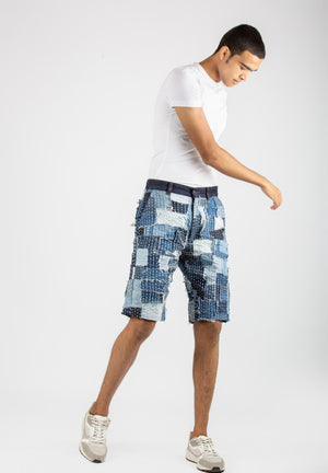 Denim Sashiko Shorts