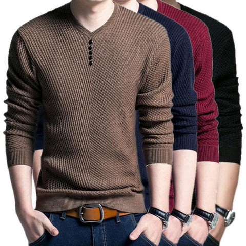 Laamei Fashion Solid Sweater Men Casual V-Neck Button Pullover Autumn Slim Fit Long Sleeve Mens Knitted Sweaters Plus Size 4XL