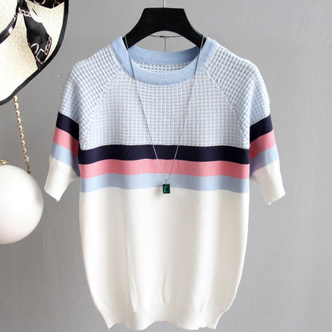 2019 New Summer Striped Knitted Sweater Pullovers Women Short Sleeve Women's Sweaters Ladies Cute Sweater Female Tops Clothing