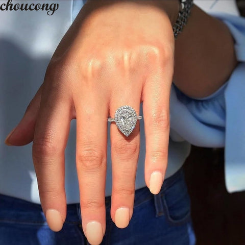 choucong Water Drop Promise Ring 925 sterling Silver Pear cut AAAAA cz Party Wedding Band Rings For Women Bridal Jewelry Gift
