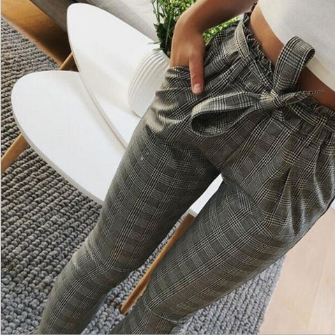 Casual Pants Female Trouser Striped OL High Waist Ankle-Length Pant Bow Tie Drawstring Striped Pants Pocket Women Pencil Pants