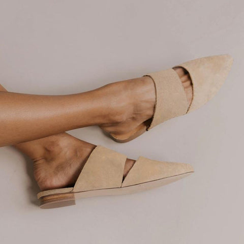 2019 Black Beige Korean Pumps Party Sandals Pointed Toe Slippers Women Mules Slipper Pointed Toe Block Strap Closed Shallow