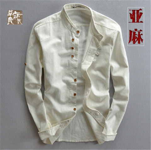 Man Summer Linen Long Sleeve Shirt Chinese Style Vintage Fashion Shirts For Man Autumn Spring Linen Cotton Casual Shirt Ws994